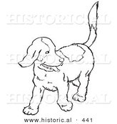 Historical Vector Illustration of a Happy Puppy Looking Back and Walking Forward - Outlined Version by Al