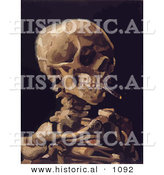 Historical Vector Illustration of a Human Skeleton Smoking a Cigarette - Vincent Van Gogh Painting by Al