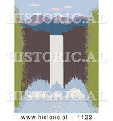 Historical Vector Illustration of a Large Waterfall over Cliff with Mountains in the Distance by Al