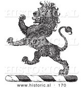Historical Vector Illustration of a Lion Crest - Black and White Version by Al