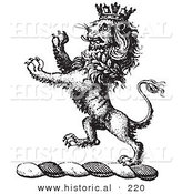Historical Vector Illustration of a Lion Crest Featuring a Crown - Black and White Version by Al
