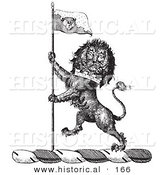 Historical Vector Illustration of a Lion Crest Featuring a Flag - Black and White Version by Al