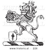 Historical Vector Illustration of a Lion Crest Featuring a Flower and Shield - Black and White Version by Al