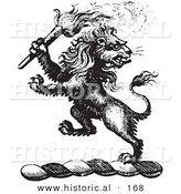 Historical Vector Illustration of a Lion Crest Featuring a Torch - Black and White Version by Al