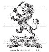 Historical Vector Illustration of a Lion Crest Featuring an Arrow - Black and White Version by Al