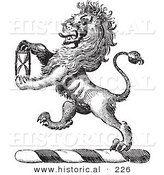 Historical Vector Illustration of a Lion Crest Featuring an Hourglass - Black and White Version by Al