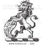 Historical Vector Illustration of a Lion Crest Featuring Curved Shield - Black and White Version by Al