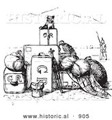 Historical Vector Illustration of a Little Dog Sitting on a Pile of Luggage - Black and White Version by Al