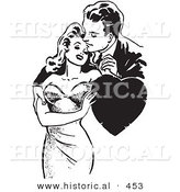 Historical Vector Illustration of a Loving Retro Couple Embracing with a Love Heart - Black and White Version by Al
