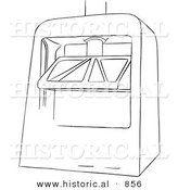 Historical Vector Illustration of a Machine Press - Black and White Outlined Version by Al