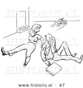 Historical Vector Illustration of a Mad Man and Woman After Tripping over a Play Toy Rolling on the Floor - Black and White Version by Al