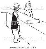 Historical Vector Illustration of a Man and Woman Standing at Help Desk - Black and White Version by Al