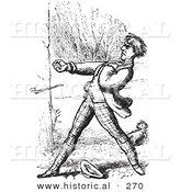 Historical Vector Illustration of a Man Defending His Dog - Black and White Version by Al