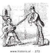 Historical Vector Illustration of a Man Defending His Dog from a Guard with a Gun - Black and White Version by Al