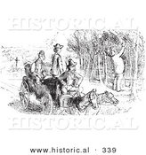 Historical Vector Illustration of a Man Picking Grapes - Black and White Version by Al