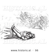 Historical Vector Illustration of a Man Sleeping in a Toppled Chair - Black and White Version by Al