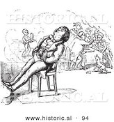 Historical Vector Illustration of a Man Sleeping on a Chair in Front of a Fire - Black and White Version by Al