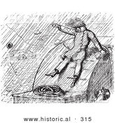 Historical Vector Illustration of a Man Taking Cover While on a River Boat in a Heavy Rain Storm - Black and White Version by Al