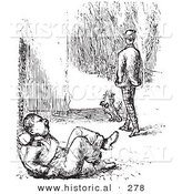 Historical Vector Illustration of a Man Walking Away After Beating a Guard up - Black and White Version by Al