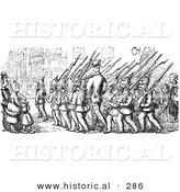 Historical Vector Illustration of a Marching Group of Soldiers - Black and White Version by Al