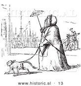 Historical Vector Illustration of a Obese Lady Walking a Dog with a Tiny Umbrella - Black and White Version by Al