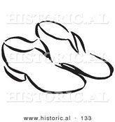 Historical Vector Illustration of a Pair of Old Fashioned Shoes - Black and White Outlined Version by Al