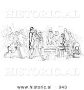 Historical Vector Illustration of a Passport Examiner - Black and White Version by Al