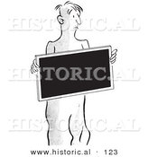 Historical Vector Illustration of a Patient Holding X Ray - Black and White Outlined Version by Al
