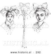 Historical Vector Illustration of a Peasant Headdresses - Black and White Version by Al