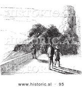 Historical Vector Illustration of a People Walking near Castle Ruins - Black and White Version by Al