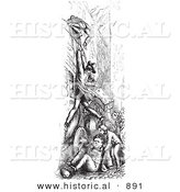 Historical Vector Illustration of a Person Hanging from an Omnibus - Black and White Version by Al