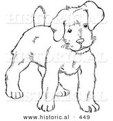 Historical Vector Illustration of a Puppy Standing and Staring - Outlined Version by Al