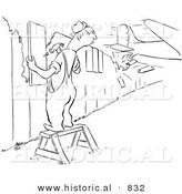 Historical Vector Illustration of a Raging Mad Cartoon Male Worker Repairing a Broken Fence Panel As a Plane Crashes Through Another Section of His Fence - Black and White Outlined Version by Al