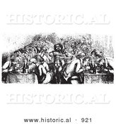 Historical Vector Illustration of a Restaurant Full of People Dining on the Rhine Boat - Black and White Version by Al