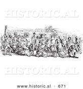 Historical Vector Illustration of a Retro Mail Train Surrounded with People - Black and White Version Retro Mail Train Surrounded with People by Al