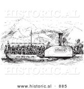 Historical Vector Illustration of a Rhine Boat Crowded with People - Black and White Version by Al
