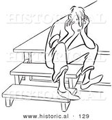 Historical Vector Illustration of a Sad Young Man Sitting on Steps Thinking While Staring - Black and White Outlined Version by Al
