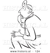 Historical Vector Illustration of a Shocked Cartoon Doctor Thinking While Staring - Black and White Outlined Version by Al