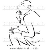 Historical Vector Illustration of a Shocked Cartoon Man Thinking While Staring - Black and White Outlined Version by Al