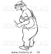 Historical Vector Illustration of a Shocked Female Worker - Black and White Version by Al