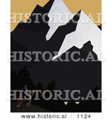 Historical Vector Illustration of a Silhouetted Cowboy on Horseback in the Shadows of a Montana Mountains by Al