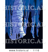 Historical Vector Illustration of a Silhouetted Man and Woman Exploring an Underground Cave by Al