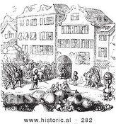 Historical Vector Illustration of a Soldiers on a Street - Black and White Version by Al