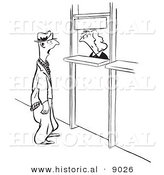 Historical Vector Illustration of a Stern Cartoon Female Worker Staring at a Man from Behind a Counter - Black and White Outlined Version by Al