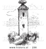 Historical Vector Illustration of a Stork Nest on a Tower - Black and White Version by Al