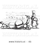 Historical Vector Illustration of a Strong Dog Pulling a Boulder in a Wheel Barrow - Black and White Version by Al