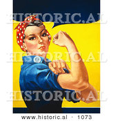 Historical Vector Illustration of a Strong Female Riveter Wearing a Bandana While Flexing Her Bicep by Al