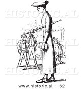 Historical Vector Illustration of a Tall Man Standing with People in the Background - Black and White Version by Al