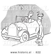 Historical Vector Illustration of a Tired Cartoon Male Worker Waiting a Long Time for a Ride to Work - Black and White Outlined Version by Al