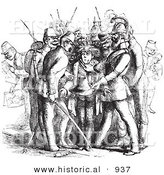 Historical Vector Illustration of a Traveler Getting Arrested for Having an Illegal Hat - Black and White Version by Al